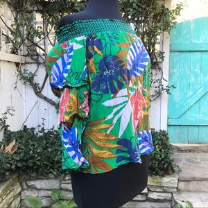 Jealous Tomato Tropical Off the Shoulder Blouse